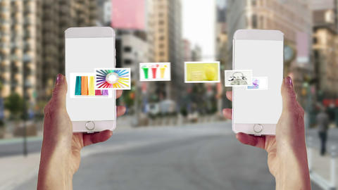 Images transferring from one smartphone to another Animation