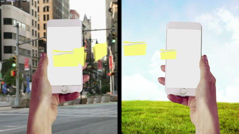 Notes transferring from one smartphone to another Animation
