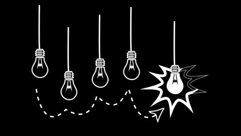 Light bulbs appearing in black and white Animation