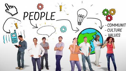 Casual group against brainstorm doodles Animation