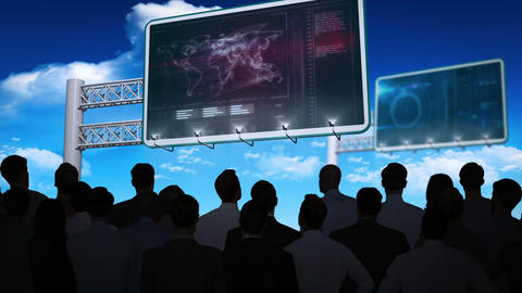 Business people watching data interface on billboard Animation