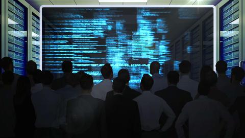Business People Watching Data Matrix On Screen stock footage