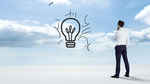 Businessman watching idea concept in the sky Animation