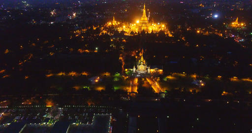 night 4k aerial - tilt of Shwedagon pagoda Footage
