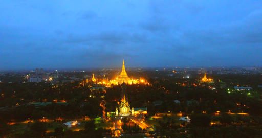 4k night aerial - slow rising crane shot of Yangon Footage