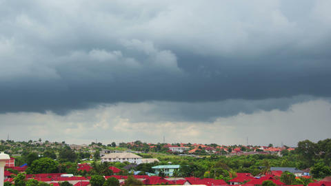 Rain Clouds Over Tropical Village Timelapse 4k (4096x2304) stock footage