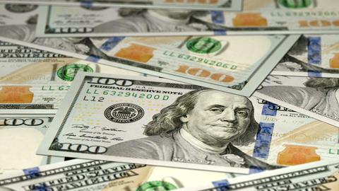 Dollars On Table stock footage