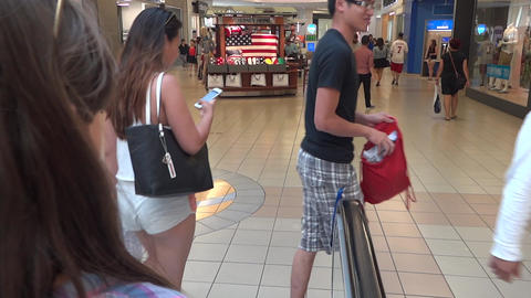 Shopping Mall People - 01 - Escalator And Passage stock footage