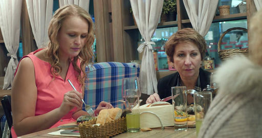 Women having dinner at the restaurant Footage