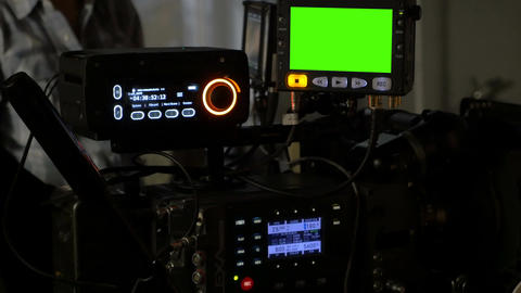 Filming equipment with chroma key at work Footage