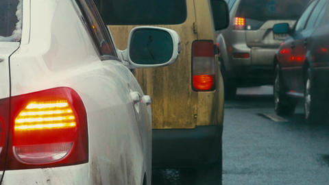 Bumper-to-bumper traffic on dull day Footage