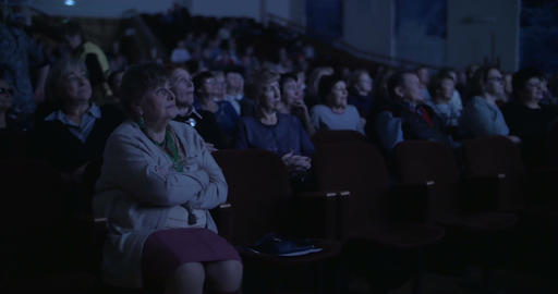 Audience in dark cinema hall Footage