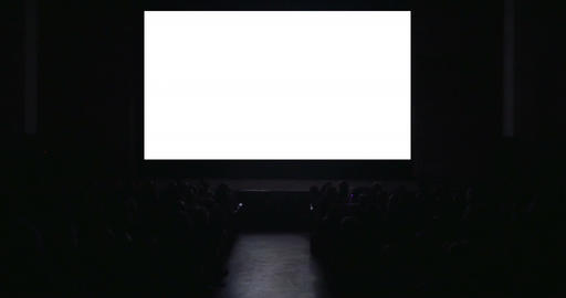 Viewers in dark cinema hall with blank screen, Live Action