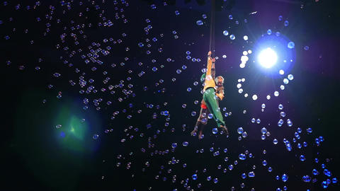 Child Aerial Performers Spinning in Air Footage