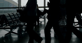Passengers waiting in lounge of airport Footage
