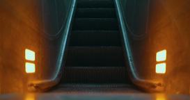 Illuminated escalator moving up Live Action