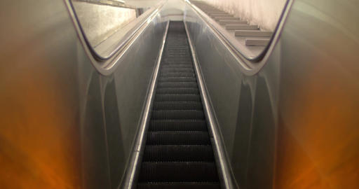 Empty escalator moving up Live Action
