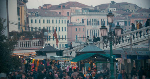 Crowded street in Venice, Italy Footage