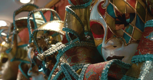 Bright colorful Venetian masks Footage