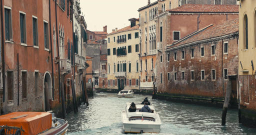 Moving Traffic on Water Canals in Venice, Italy Footage