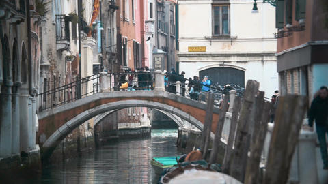 Venetian cityscape with bridge and old houses GIF