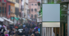Blank billboard hanging in busy street Footage