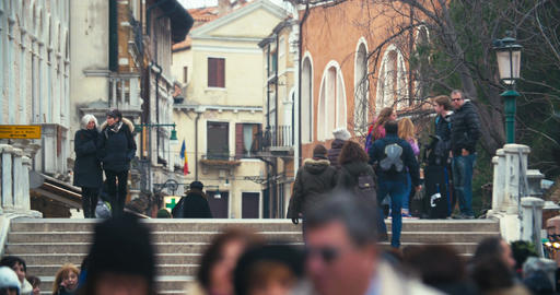 People walking across the bridge in Venice, Italy Footage