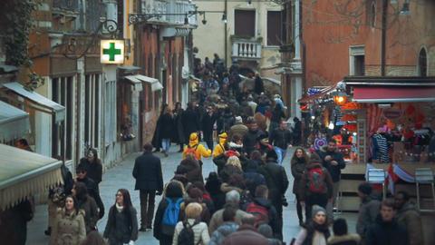 People Traffic On Pedestrian Street In Venice, Italy stock footage