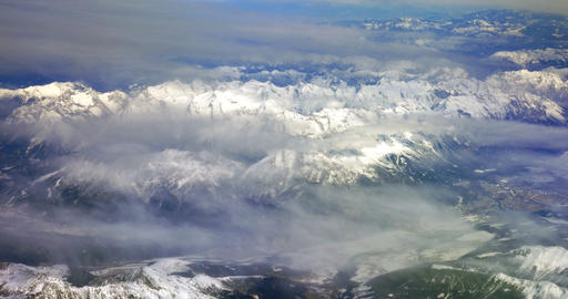 Flying Over The Snowy Mountains stock footage