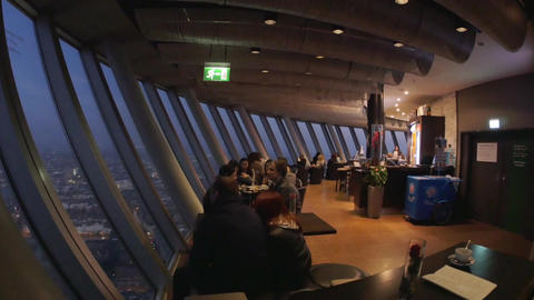 People in cafe Top 180, The Rheinturm Footage