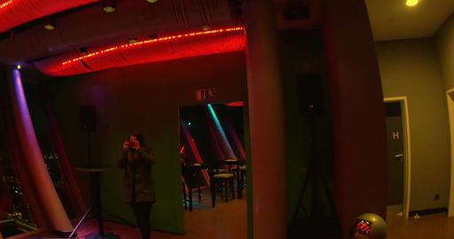 Revolving Restaurant Top 180 in Rheinturm Tower at Night Footage