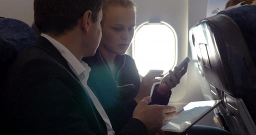 Young people making agreement in the plane Footage