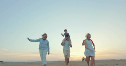 Enjoable family walk on the beach Footage