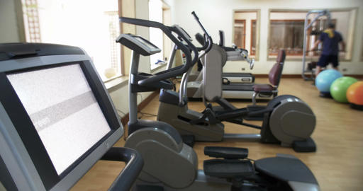 Fitness center with exercise machines Footage