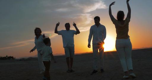 Happy big family enjoying evening on the beach Footage