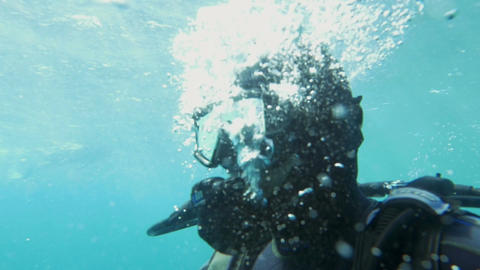 Diver Breathing Under the Water Footage