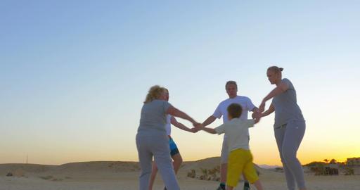 Big Family Circle Dancing Footage