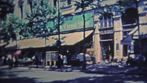 1969: Scenes around Paris of popular restaurants and from above the city Footage
