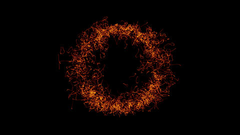 The particles are emitted in the form of rings Animación