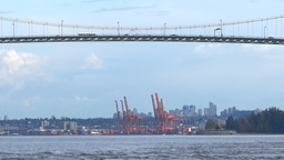 Large Bridge - City Traffic - Port View stock footage