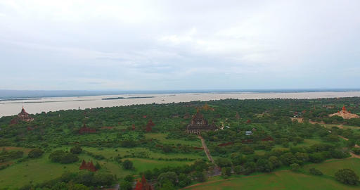 4k aerial flight towards Ananda temple Footage