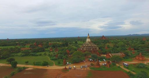 low forward aerial shot - Shwe San Daw Pagoda and stupas 2 Footage