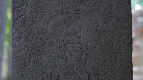 macro close up of inscribed temple art - ta prohm temple Footage