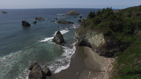 Aerial view of a rocky beach on the oregon coast Live Action