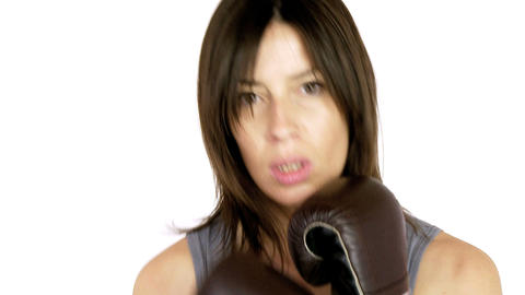 Closeup of strong woman boxing Stock Video Footage