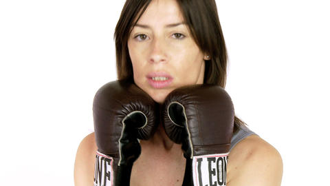 Closeup of strong woman boxing Footage