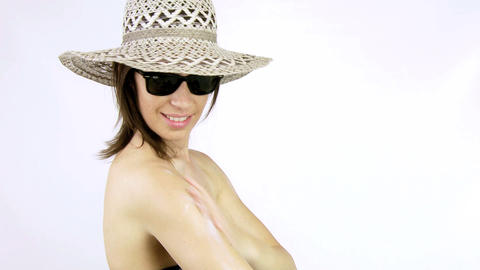 Beautiful woman with hat and sunglasses Stock Video Footage