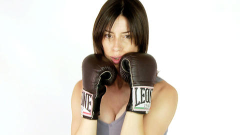 Boxing girl jumping slow motion Stock Video Footage