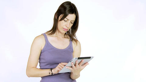 Young woman working with tablet iPad Stock Video Footage