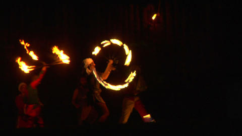 medieval fire show 03 Stock Video Footage